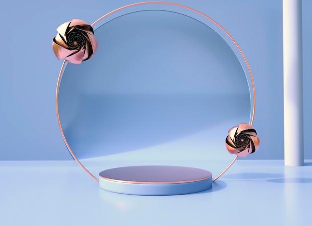 Sfondo con fiore rosa e podio di forma geometrica per l'esposizione del prodotto, concetto minimo