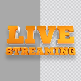 Distintivo 3d live streaming oro isolato