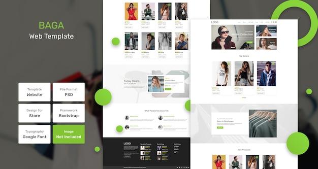 Modello di pagina web del negozio baga