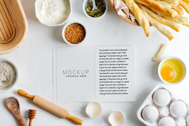 Ingredienti per la cottura con taccuino mockup