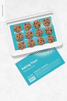 Teglia da forno con biscotti mockup