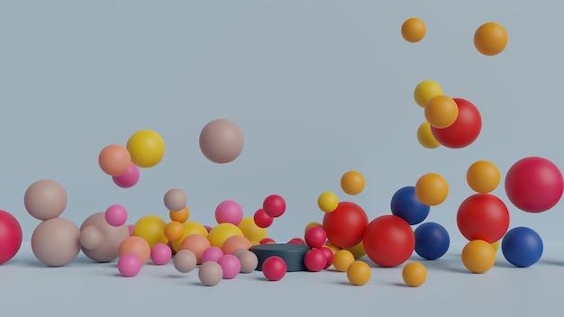 Forma colorata palla in rendering 3d Psd Premium
