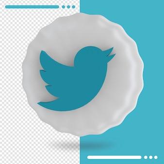 Palloncino e logo di twitter rendering 3d