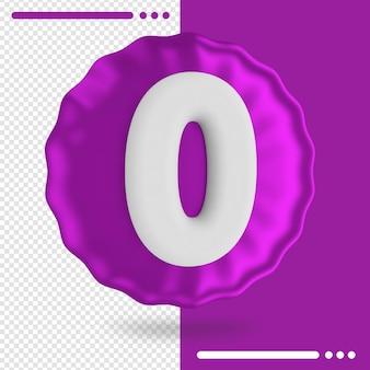 Palloncino e numero 0 rendering 3d