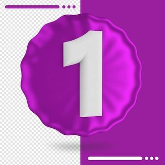 Palloncino e numero 1 rendering 3d