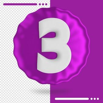 Palloncino e numero 3 rendering 3d