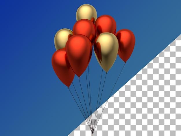 Palloncini 3d rendering oro rosso isolato