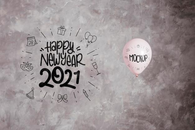 Mock-up di palloncini per la celebrazione del nuovo anno