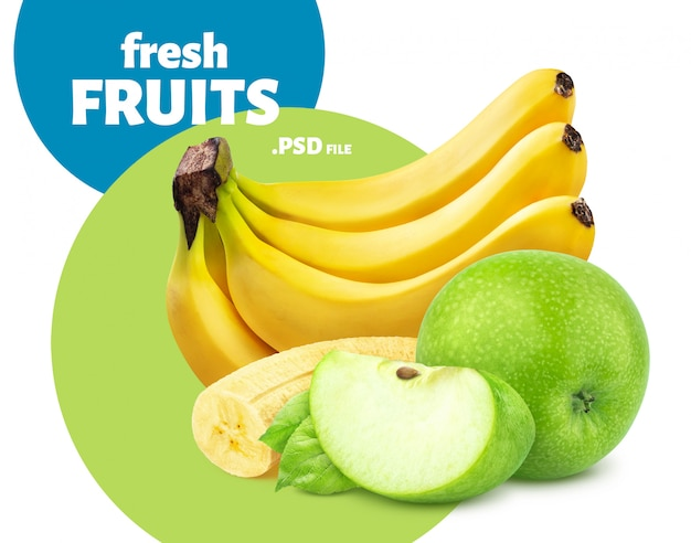 Banana e mela isolate su fondo bianco