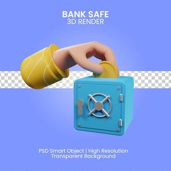 Illustrazione di rendering 3d sicuro della banca isolata
