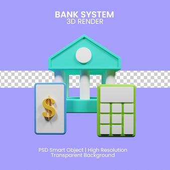 Concetto di illustrazione 3d del sistema bancario