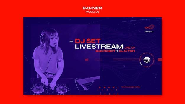 Banner dj set modello di annuncio in live streaming