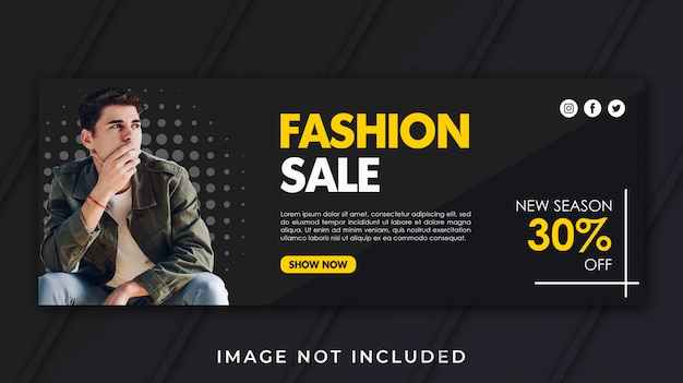 Banner facebook copertina modello di vendita di moda