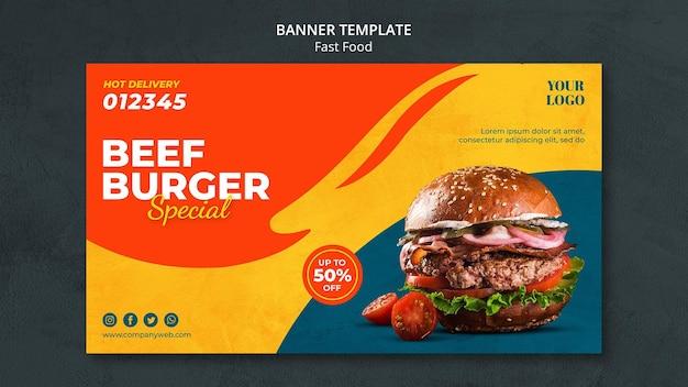 Modello di annuncio banner fast food