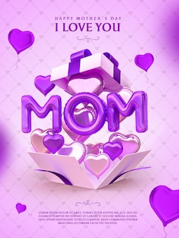 Banner happy mothers day i love mom balloon 3d render