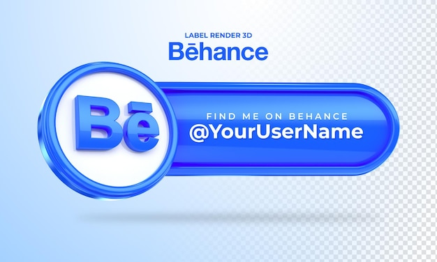 Banner icon behance find me label 3d render isolated
