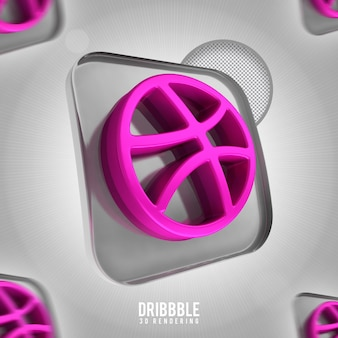 Banner icona dribbble 3d rendering isolato