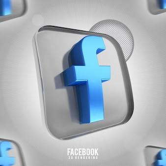 Banner icona facebook rendering 3d isolato