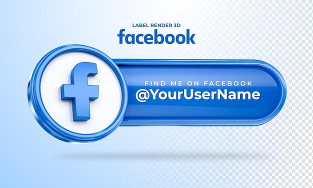Banner icon facebook trovami etichetta 3d rendering isolato Psd Premium