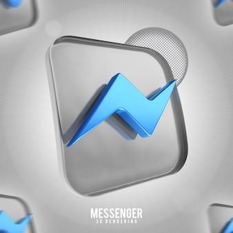 Rendering 3d di banner icona messenge isolato