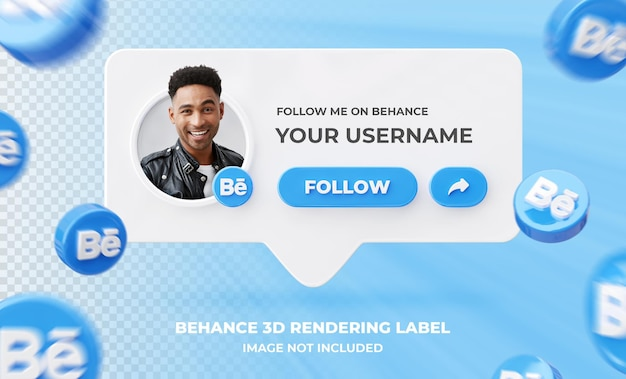 Profilo icona banner su behance 3d rendering modello di etichetta