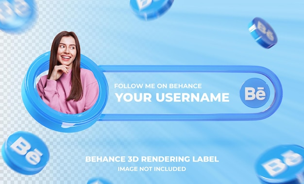 Profilo icona banner su behance 3d rendering template