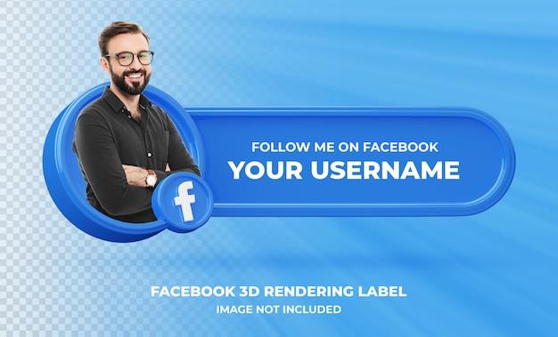 Profilo icona banner su facebook 3d rendering etichetta isolata