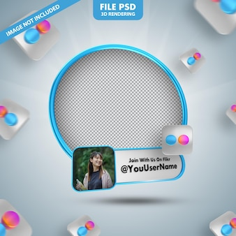 Profilo icona banner sull'etichetta di rendering 3d di flikr isolata