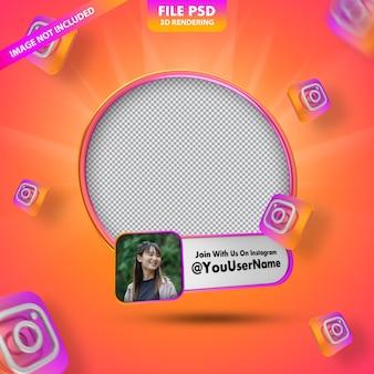 Profilo icona banner su instagram 3d rendering etichetta isolata