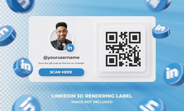 Profilo icona banner su linkedin 3d rendering etichetta isolata
