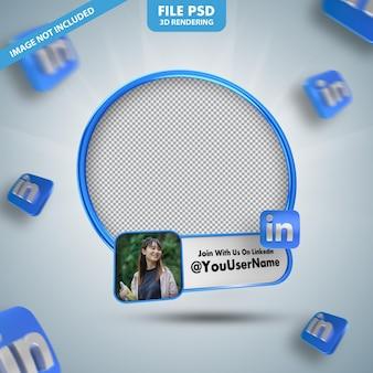 Profilo dell'icona del banner sull'etichetta di rendering 3d di linkedin isolata