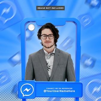 Profilo icona banner su messenger 3d rendering frame