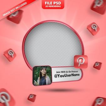 Profilo icona banner su pinterest 3d rendering etichetta isolata