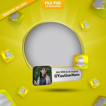 Profilo icona banner sull'etichetta di rendering 3d snapchat isolata