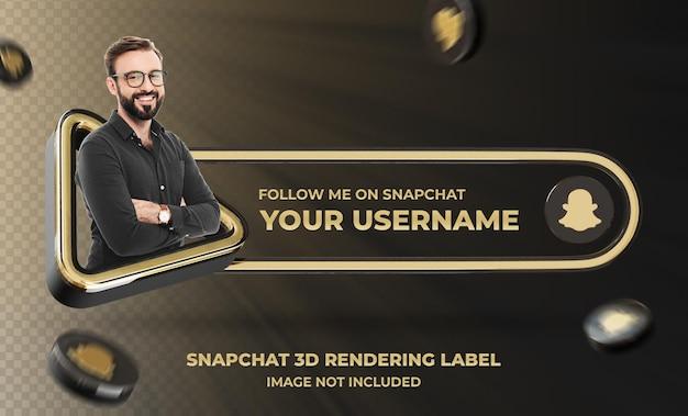 Profilo dell'icona del banner su snapchat 3d rendering label mockup