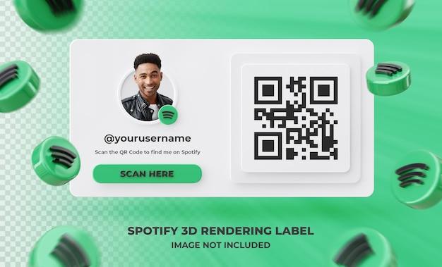 Profilo icona banner su spotify 3d rendering etichetta isolata