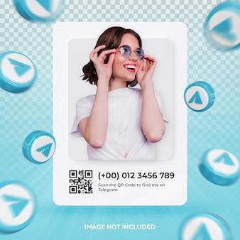 Profilo icona banner su telegram 3d rendering etichetta isolata