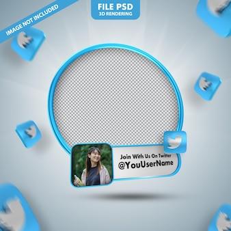 Profilo icona banner su twitte 3d rendering etichetta isolata