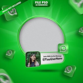Profilo dell'icona del banner sull'etichetta di rendering 3d di whatsapp isolata