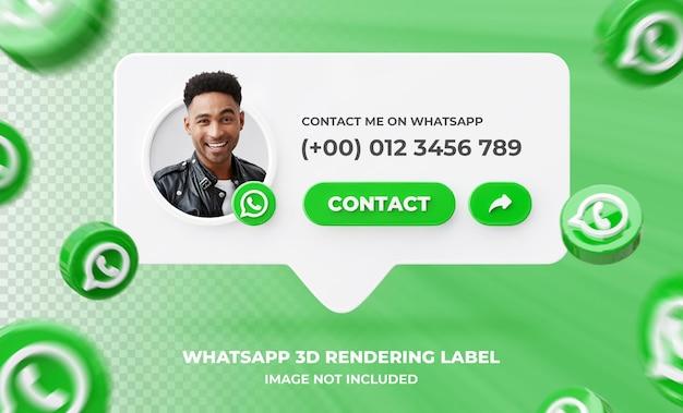Profilo icona banner su whatsapp 3d rendering modello di etichetta