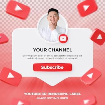 Banner icona profilo su youtube 3d rendering etichetta isolata