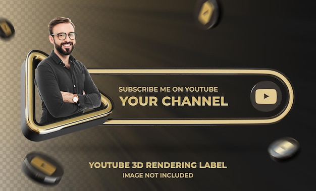 Banner icon profile su youtube 3d rendering label mockup