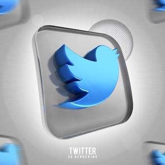 Banner icona twitter rendering 3d isolato