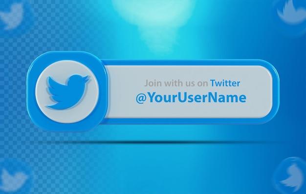 Icona banner twitter con etichetta 3d render