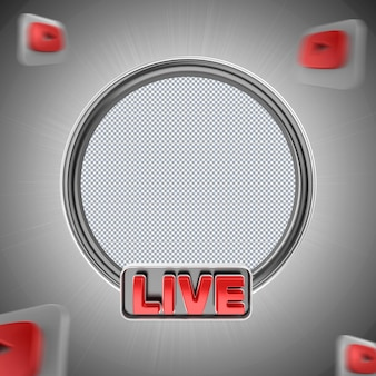Banner icona youtube telaio nero 3d render isolato