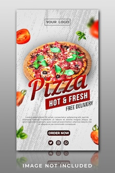 Banner instagram story pizza template sales