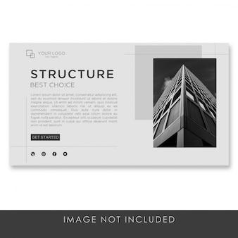Architettura della pagina di destinazione banner con modello pulito