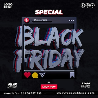 Banner offerta speciale modello di post sui social media del black friday