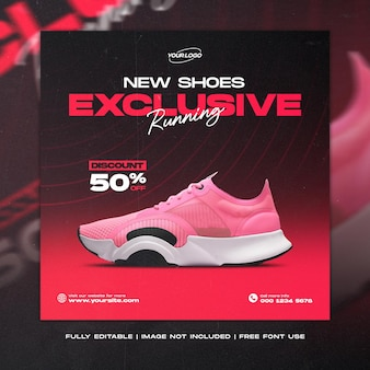 Banner di scarpe sportive per la vendita di post sui social media e modello di feed di instagram