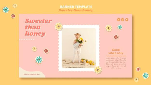 Modello di banner per bambini con fiori
